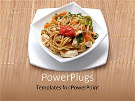 PowerPoint template displaying plate of delicious Chinese noodles with vegetables and meat