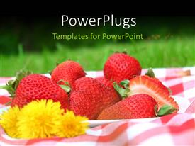 PowerPlugs: PowerPoint template with a plate of freshly cut red strawberries with a yellow flower