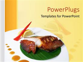 PowerPlugs: PowerPoint template with plate with Japanese food with a lemon and drops of sauce