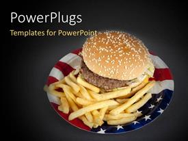 PowerPoint template displaying a plate made of USA flag color with burger and chips