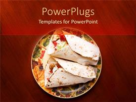 PowerPlugs: PowerPoint template with plate with two tortilla chips on red wooden table