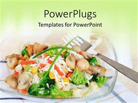 PowerPlugs: PowerPoint template with a plate with vegetables in it and a silver fork
