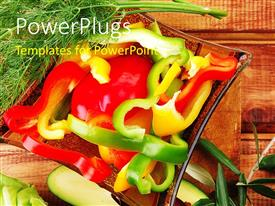 PowerPlugs: PowerPoint template with plate with vegetarian fresh food on a wooden table