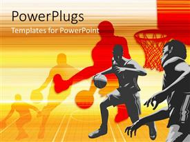 PowerPoint template displaying players playing basketball with their shadows in background
