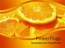 PowerPoint template displaying plenty slices of an orange on an orange background