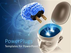 PowerPoint template displaying plugging in the brain for thoughts and ideas as a metaphor on a blue background