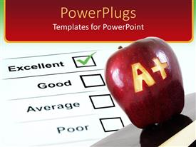 PowerPlugs: PowerPoint template with a plus carved into an apple with report sheet showing excellent mark