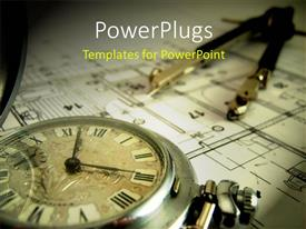 PowerPoint template displaying pocket watch and dividers laying on the architectural project