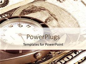 PowerPlugs: PowerPoint template with a pocket watch placed above the dollar note with place for text