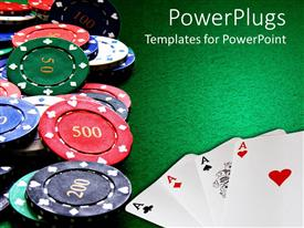 PowerPoint template displaying poker cards and poker chips, four Aces on poker table