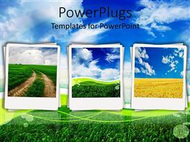 PowerPlugs: PowerPoint template with polaroids depicting fields, dirt path, blue sky