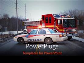 PowerPlugs: PowerPoint template with a police car and a fire brigade vehicle on a road
