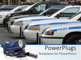 PowerPlugs: PowerPoint template with police cars in line with black suv and police hat with stick and hand cuffs