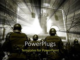 PowerPlugs: PowerPoint template with police cordon standing in front of the funny billboard with trees