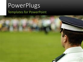 PowerPlugs: PowerPoint template with police guard watching a crowd