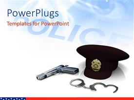 PowerPoint template displaying police hat gun and handcuffs with depiction