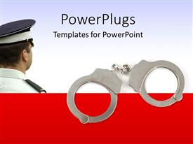 PowerPlugs: PowerPoint template with police officer with handcuffs with white color
