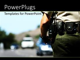 PowerPoint template displaying police officer with police radio affixed to belt and blurry background