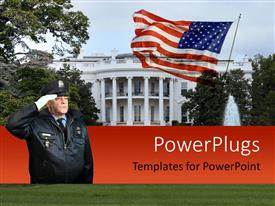 PowerPlugs: PowerPoint template with police officer with white gloves saluting and white house with american flag