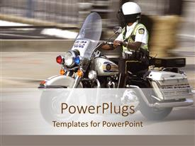PowerPoint template displaying police patrol man on a motor bike on a blurry background