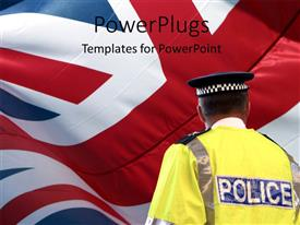 PowerPlugs: PowerPoint template with a policeman with british flag in the background