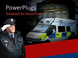 PowerPlugs: PowerPoint template with policeman saluting with van panned in the background