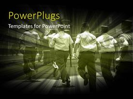 PowerPlugs: PowerPoint template with policemen with the batons with buildings