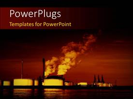 PowerPlugs: PowerPoint template with pollution coming out of factories with sea