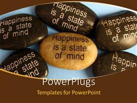 PowerPlugs: PowerPoint template with popular affirmation saying 'happiness in a state of mind' engraved on pebbles with blue color
