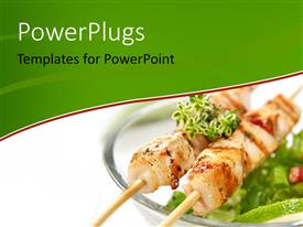 PowerPlugs: PowerPoint template with dish of salad, slice of lemon and grilled meat