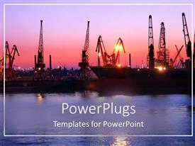 PowerPlugs: PowerPoint template with port depiction with naval ships at sunset with river water