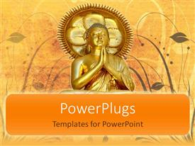 PowerPlugs: PowerPoint template with portrait of gold plated statue of Buddha on vintage background