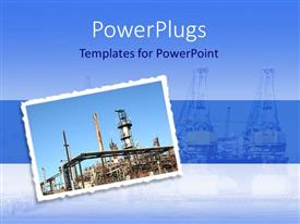 PowerPoint template displaying postage stamp with the picture of a refinery on a blue background