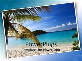 PowerPlugs: PowerPoint template with postcard of beautiful beach scene with palm tree, sand beach and ocean water