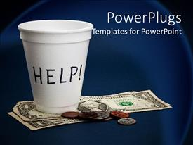 PowerPlugs: PowerPoint template with poverty metaphor with white coffee cup begging for help, dollar bills, coins