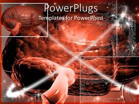 PowerPoint template displaying the power of the brain with all its functional description