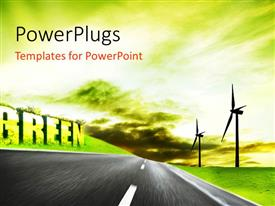 PowerPlugs: PowerPoint template with power generation using wind aim of industrial ecology