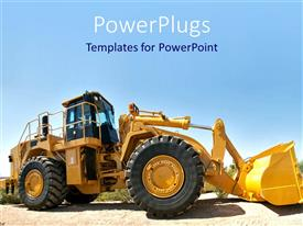 PowerPlugs: PowerPoint template with a powerful bulldozer with no driver in  the driving seat