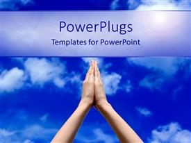 PowerPoint template displaying prayer concept with praying hands and blue sky, spirituality, religion, faith