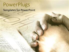 PowerPlugs: PowerPoint template with praying prayers God folded hands Holy Bible religious studies tan background