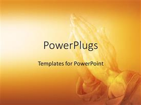 PowerPoint template displaying praying in religion on an orange background