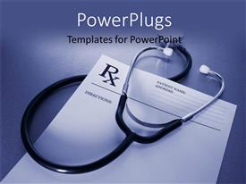 PowerPoint template displaying prescription form and stethoscope on stainless steel desk with blue color
