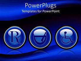 PowerPlugs: PowerPoint template with prescription symbol, mortar and pestle, handicapped disabled symbol, medicine, pharmacy, pharmaceutical, medical
