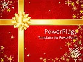 PowerPlugs: PowerPoint template with present background red gold bow