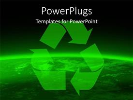 PowerPlugs: PowerPoint template with preserve the earth with green recycle symbol on globe