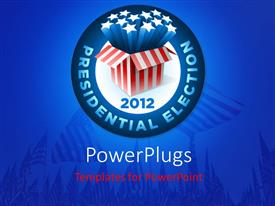 PowerPlugs: PowerPoint template with presidential election badge with exploding american star box and american flags