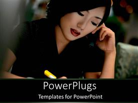 PowerPlugs: PowerPoint template with pretty adult female on black outfit holding a pen