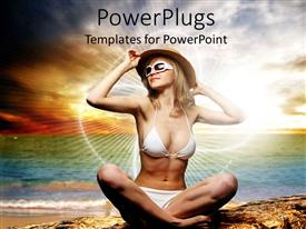 PowerPlugs: PowerPoint template with pretty adult female smiling in beach wear on a beach