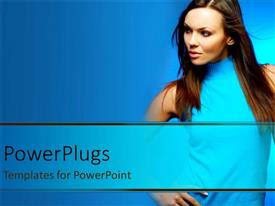PowerPoint template displaying pretty adult female staring side ways wearing a blue top