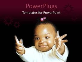 PowerPoint template displaying a pretty African American baby on a black background